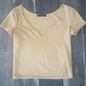 Brandy Melville Yellow Striped Crop Top